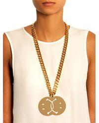 Moschino Metallic Smiley Face Necklace