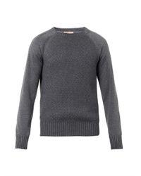 Bottega Veneta - Gray Contrast-Panel Cotton Sweater for Men - Lyst