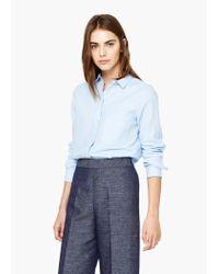 Mango - Blue Chest-pocket Cotton Shirt - Lyst