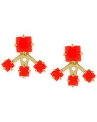Vince Camuto - Red Gold-tone Neon Square Earrings - Lyst