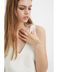 Forever 21 - Metallic Faux Pearl Hand Chain - Lyst