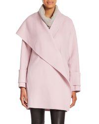 VINCE | Pink Asymmetric Drape-neck Wool Coat | Lyst
