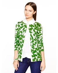 kate spade new york - Green Garden Leaves Cardigan - Lyst