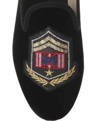Marc Jacobs Black Embellished Velvet Loafers