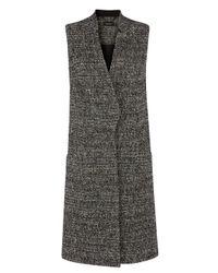 Karen Millen | Black Texture Tweed Waistcoat | Lyst