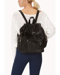 Forever 21 Black Cool Girl Faux Leather Backpack