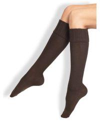 Falke | Brown Ribbed Knee High Socks | Lyst