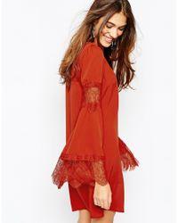 Fallen Star - Orange Trapeze Swing Dress With Fluted Sleeve - Lyst