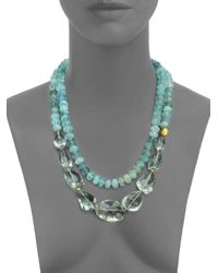 Lena Skadegard   Blue Onda Green Amethyst, Aquamarine & 18k Yellow Gold Long Pebble Necklace   Lyst
