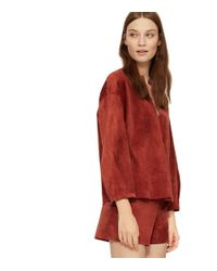 Tory Burch - Red Suede Top - Lyst
