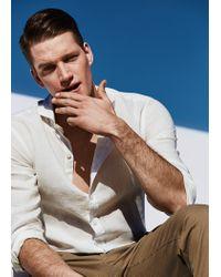 Mango White Slim-Fit Linen Shirt for men