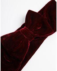 ASOS - Red Velvet Bow Hair Turban - Lyst