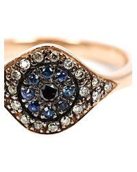 Ileana Makri | Black 'cats Eye' Diamond And Sapphire Ring | Lyst