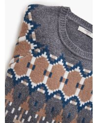 Mango - Multicolor Jacquard Wool Sweater for Men - Lyst