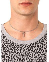 Saint Laurent | Metallic Doublecross Silver Necklace for Men | Lyst