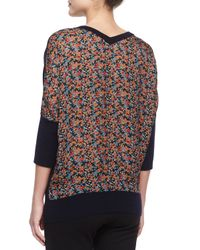 Derek Lam - Multicolor Cashmere-blend Floral-back Batwing Sweater - Lyst