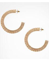 Express - Metallic Flat Metal Mesh Hoop Earrings - Lyst
