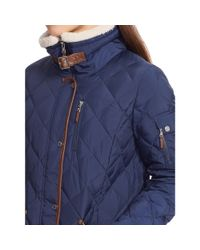 Ralph Lauren | Blue Faux Leather–trim Down Coat | Lyst