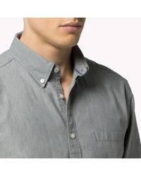 Tommy Hilfiger - Gray Chambray Regular Fit Shirt for Men - Lyst