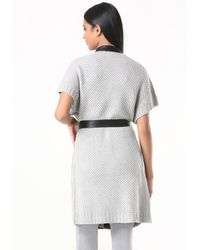 Bebe - Gray Short Sleeve Sweater Coat - Lyst