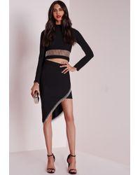 Missguided - Asymmetric Chain Detail Midi Skirt Black - Lyst