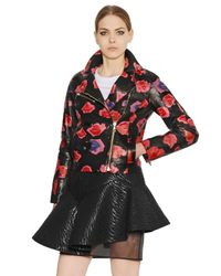 MSGM Red Lip Printed Nappa Leather Leather Jacket