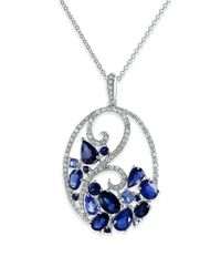 Effy Blue Royale Bleu Ceylon Sapphire, Diamond And 14k White Gold Pendant Necklace