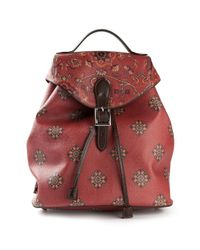Etro - Red Printed Backpack - Lyst