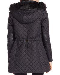 Ralph Lauren - Black Lauren Quilted Faux Fur Trim Jacket - Lyst
