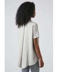 TOPSHOP Gray Chiffon Sleeve V-Neck Tunic