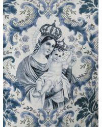 Dolce & Gabbana Blue Crowned Madonna Floral T-shirt for men
