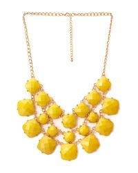 Forever 21 Yellow Luxe Faux Stone Bib Necklace