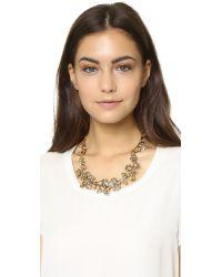 Oscar de la Renta Brown Crystal Branch Necklace - Topaz