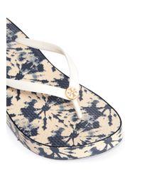 Tory Burch Blue Thandie Tie Dye Print Wedge Thong Sandals