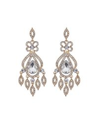 Mikey | Metallic Long Drop Fillagary Spread Earring | Lyst