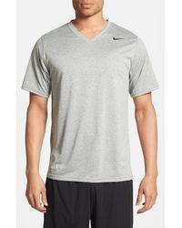 Nike Gray 'legend' Dri-fit V-neck T-shirt for men