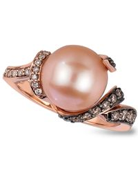 Le Vian | Pink Cultured Freshwater Pearl (9Mm) And Chocolate (1/3 Ct. T.W.) And White (1/10 Ct. T.W.) Diamond Ring In 14K Rose Gold | Lyst