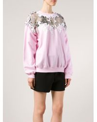 Alexis Mabille | Pink Embellished Cotton-Blend Sweatshirt | Lyst