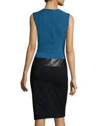 J. Mendel - Blue Sleeveless Two-tone Sheath Dress - Lyst