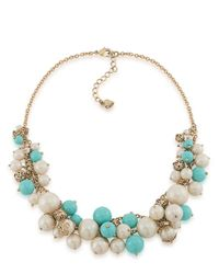 Carolee | Blue Pearl Bead Cluster Necklace | Lyst