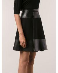 David Koma Black Leather Panel Skirt