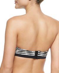 Shoshanna - Black Textured-stripe Bandeau Swim Top - Lyst