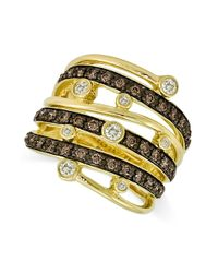 Le Vian | Brown Chocolate And White Diamond Multi-row Ring (3/4 Ct. T.w.) In 14k Gold | Lyst