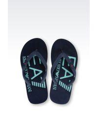 EA7   Blue Rubber Flip Flop With Logo for Men   Lyst