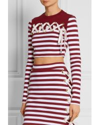 House of Holland | Multicolor - Cropped Lace-up Striped Stretch-cotton Jersey Top - Burgundy | Lyst