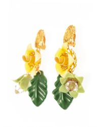 Dolce & Gabbana   Yellow Hand-Painted Enamel And Crystal Earrings   Lyst