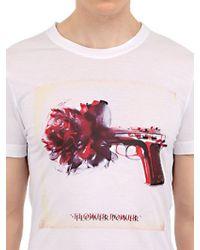 John Richmond White Flower Power Cotton/Modal Blend T-Shirt for men