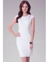 Bebe - White Ponte & Organza Dress - Lyst