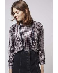 TOPSHOP - Multicolor Lace Trim Check Top - Lyst