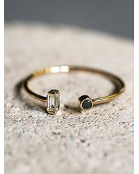 Free People | Metallic Baguette Diamond Open Ring | Lyst